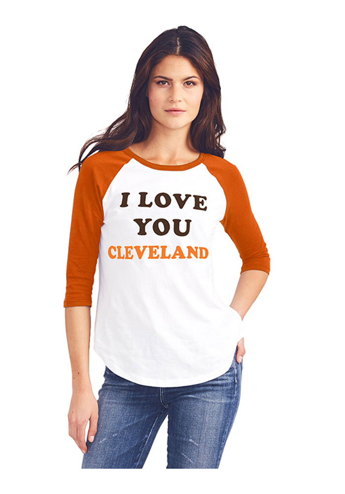 Junk Food Clothing Cleveland Browns Womens White All-American Long Sleeve Crew T-Shirt - Image 1