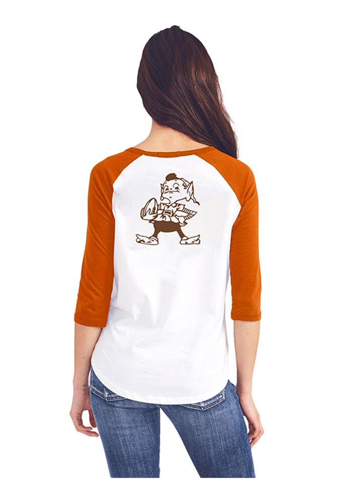 Junk Food Clothing Cleveland Browns Womens White All-American Long Sleeve Crew T-Shirt - Image 2