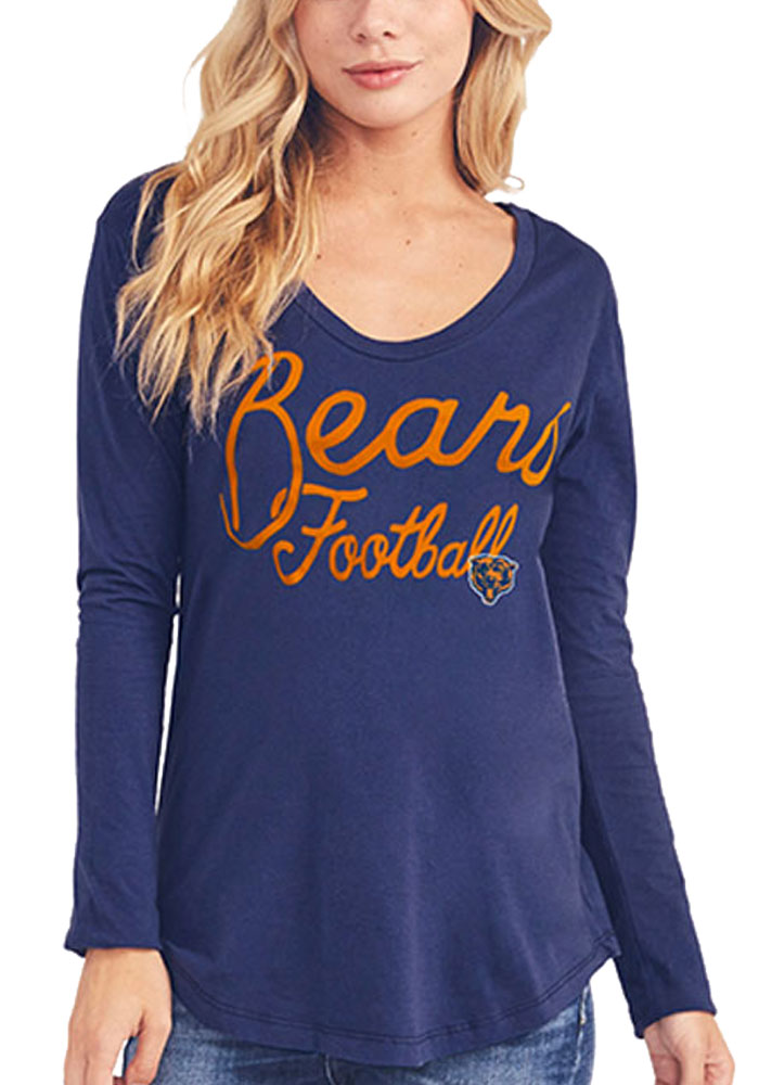 Junk Food Clothing Chicago Bears Womens Navy Blue Pregame Long Sleeve T-Shirt - Image 1