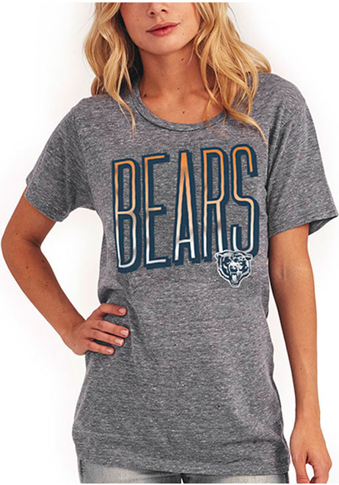 Junk Food Clothing Chicago Bears Womens Grey Touchdown Short Sleeve Crew T-Shirt - Image 1
