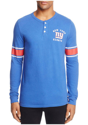 Junk Food Clothing New York Giants Mens Blue Huddle Henley Fashion Tee