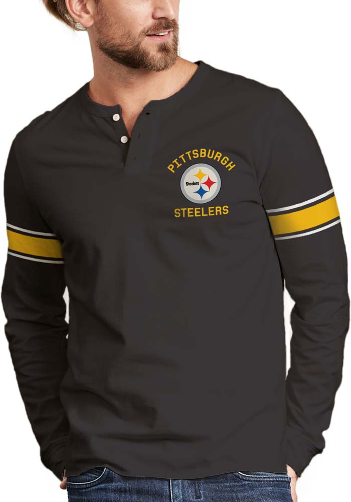 Junk Food Clothing Pittsburgh Steelers Black Huddle Henley Long Sleeve  Fashion T Shirt - Image 1 bc3f1fe30