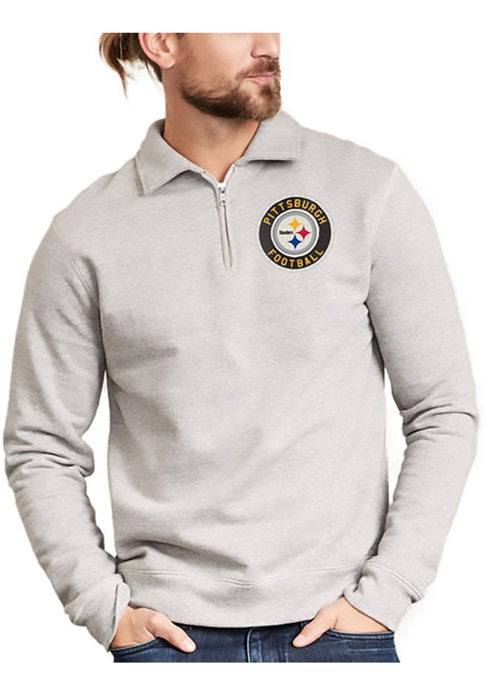 Pittsburgh Steelers Mens Grey Sideline Sweater Long Sleeve 1/4 Zip Fashion Pullover, Grey, 100% COTTON, Size L