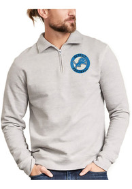 Detroit Lions Mens Grey Sideline Sweater 1/4 Zip Fashion Pullover