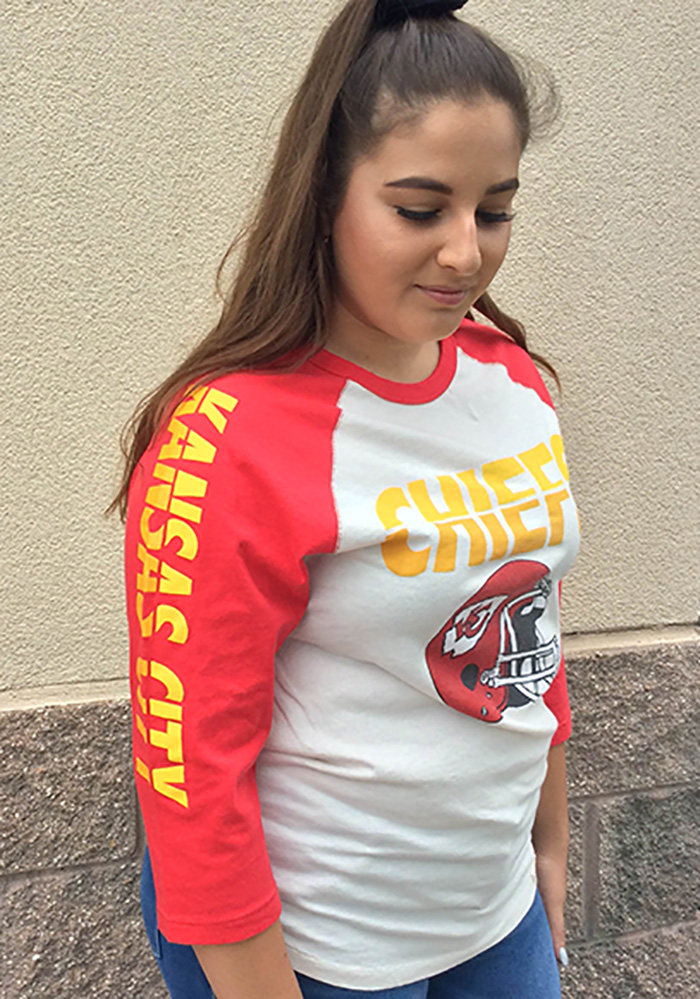 Kansas City Chiefs White All American Raglan Long Sleeve Fashion T Shirt - Image 2