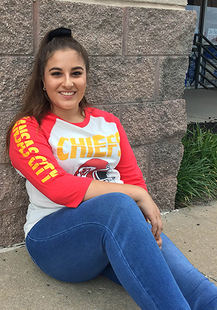 Kansas City Chiefs White All American Raglan Long Sleeve Fashion T Shirt - Image 3