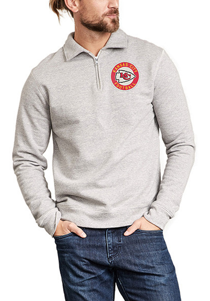 Kansas City Chiefs Mens Grey Sideline Sweater Long Sleeve 1/4 Zip Fashion Pullover - Image 1