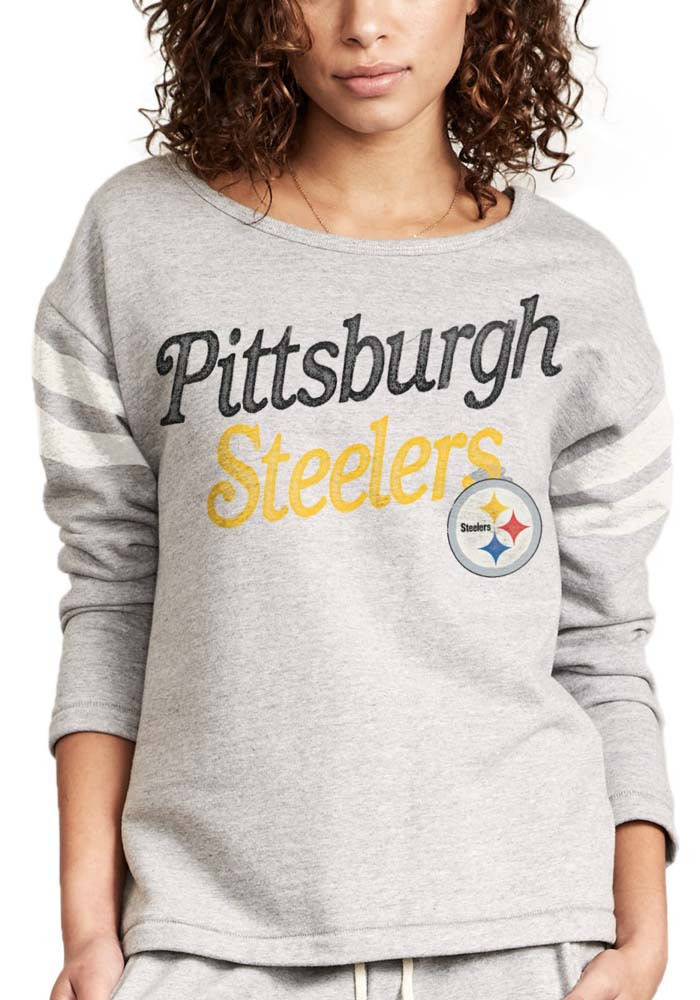 Junk Food Clothing Pittsburgh Steelers Womens Grey Champion Fleece Crew Sweatshirt, Grey, 100% COTTON, Size S