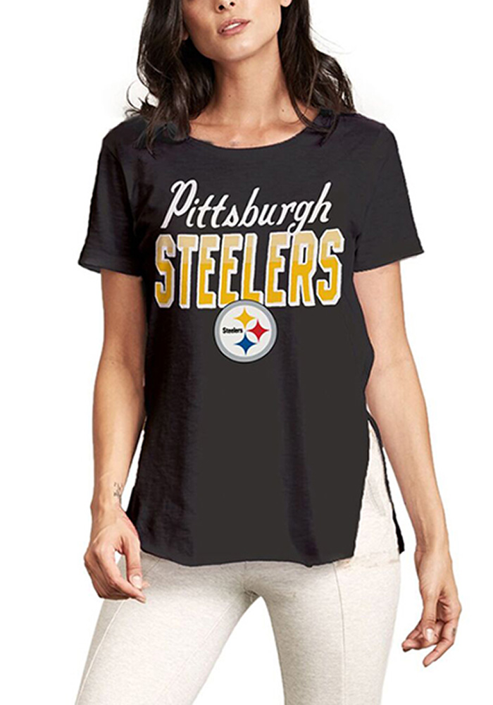 Junk Food Clothing Pittsburgh Steelers Womens Black Kickoff Short Sleeve Crew T-Shirt, Black, 100% COTTON, Size L