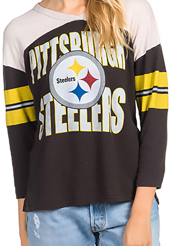 Pittsburgh Steelers Womens Junk Food Clothing Throwback Football T-Shirt - Black