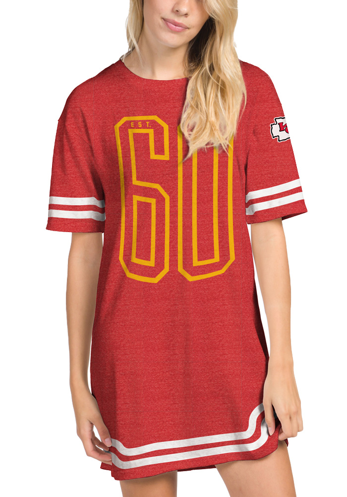 Junk Food Clothing Kansas City Chiefs Womens Red Striped T-Shirt Short Sleeve Dress - Image 1