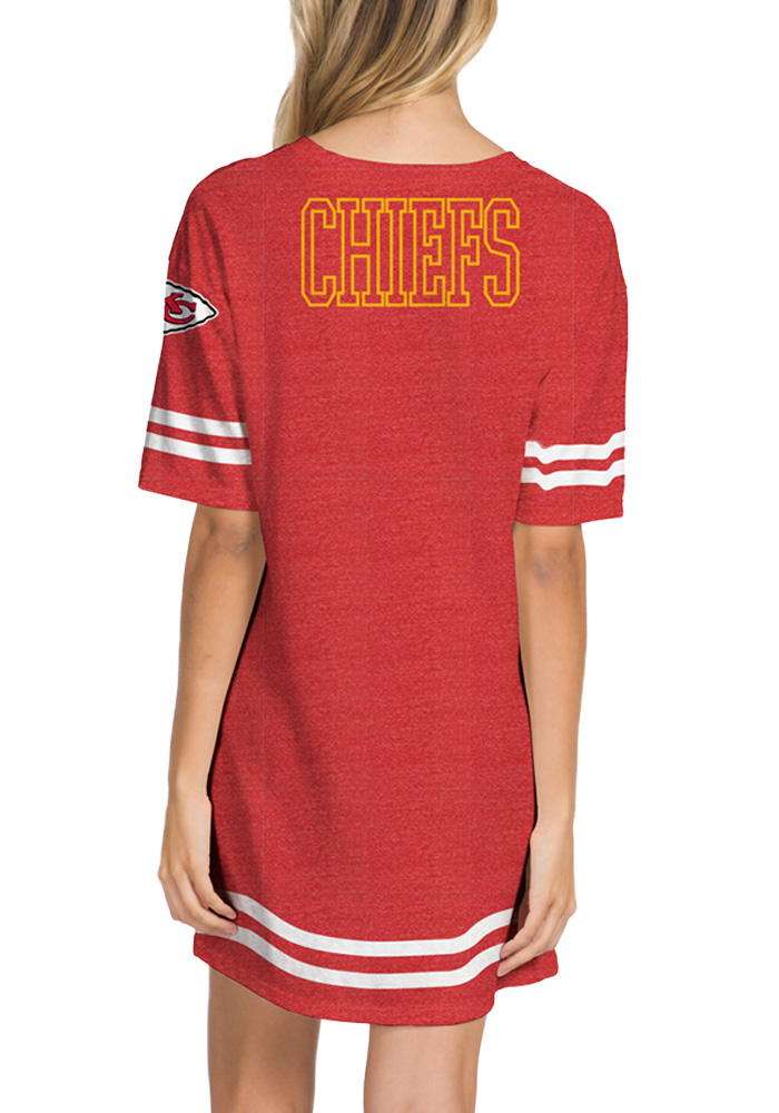 Junk Food Clothing Kansas City Chiefs Womens Red Striped T-Shirt Short Sleeve Dress - Image 2