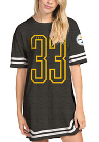Pittsburgh Steelers Womens Junk Food Clothing Striped T-Shirt Dress - Black
