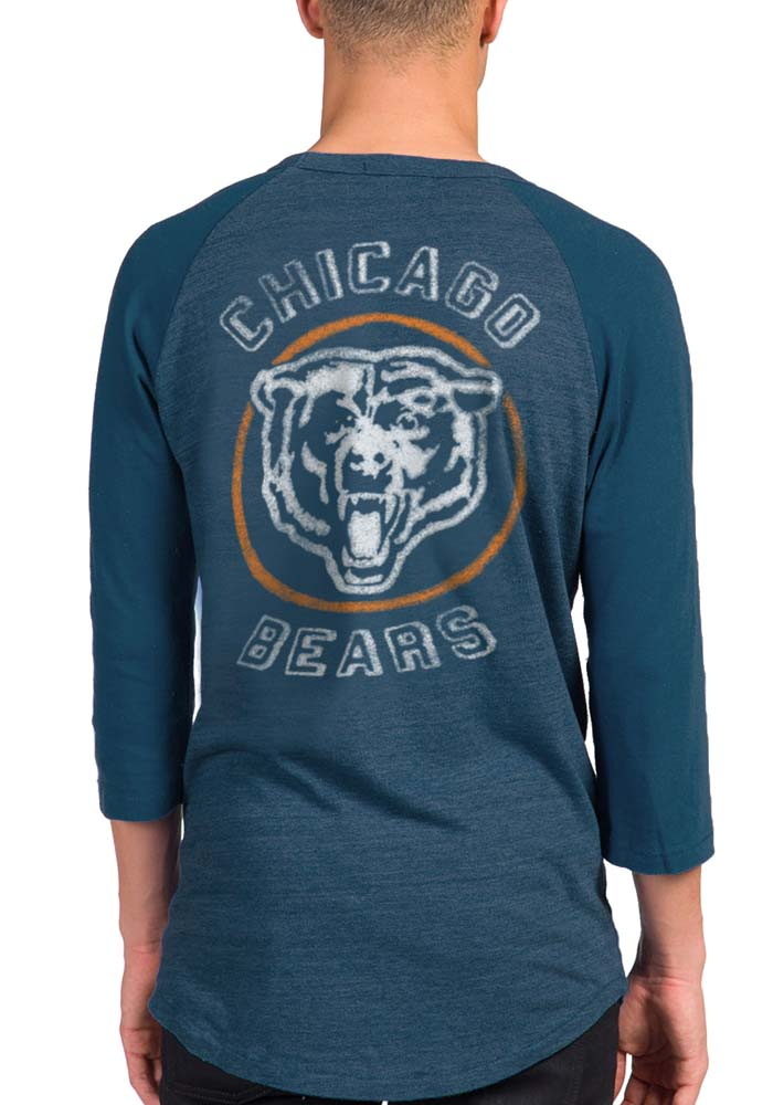 Junk Food Clothing Chicago Bears Navy Blue Bear Claw Long Sleeve Fashion T Shirt - Image 2