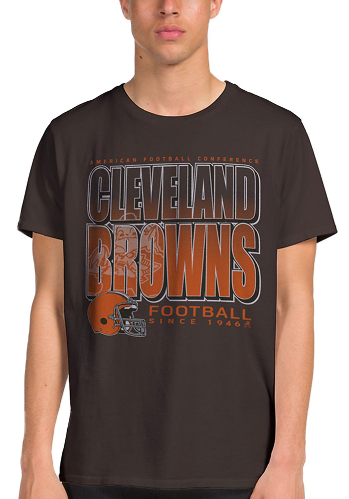 Junk Food Clothing Cleveland Browns Brown Classic Short Sleeve Fashion T Shirt - Image 1