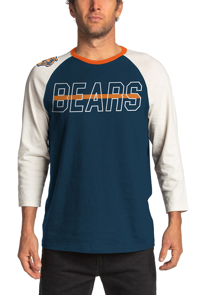 Junk Food Clothing Chicago Bears Navy Blue Vintage Contrast Long Sleeve Fashion T Shirt - Image 1