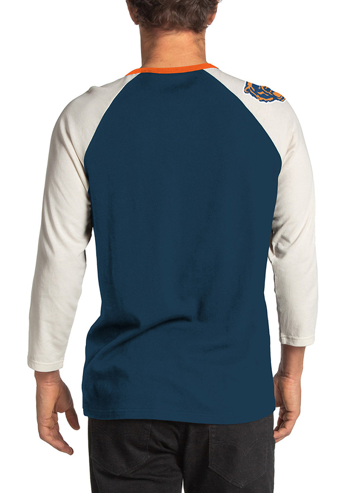 Junk Food Clothing Chicago Bears Navy Blue Vintage Contrast Long Sleeve Fashion T Shirt - Image 2