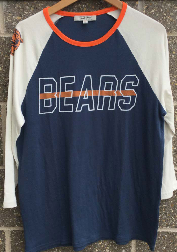 Junk Food Clothing Chicago Bears Navy Blue Vintage Contrast Long Sleeve Fashion T Shirt - Image 3