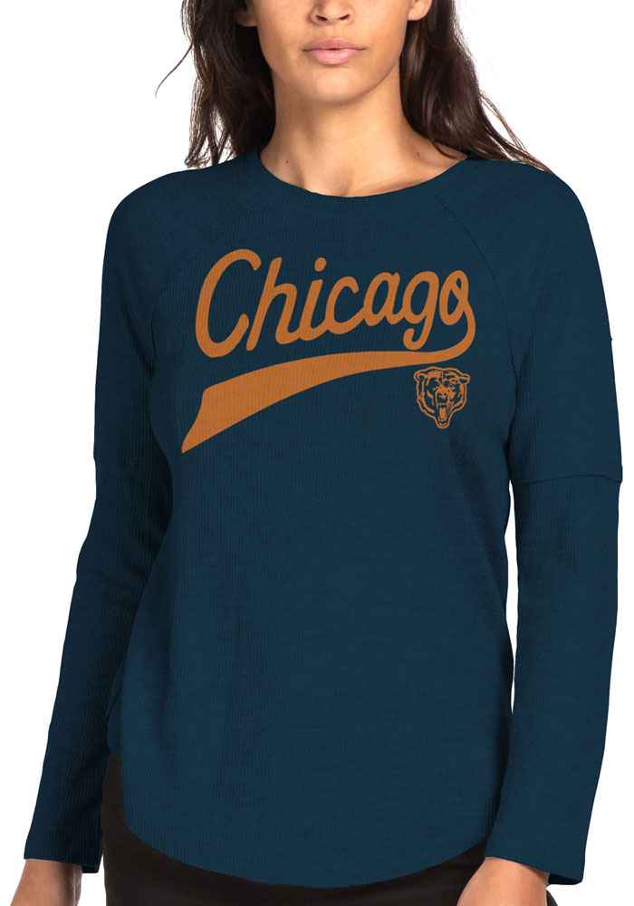 Chicago Bears Womens Junk Food Clothing Thermal T-Shirt - Navy Blue