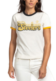 Pittsburgh Steelers Womens Junk Food Clothing Retro Ringer T-Shirt - White