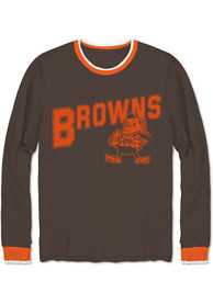 Cleveland Browns Junk Food Clothing Ringer Fashion T Shirt - Brown