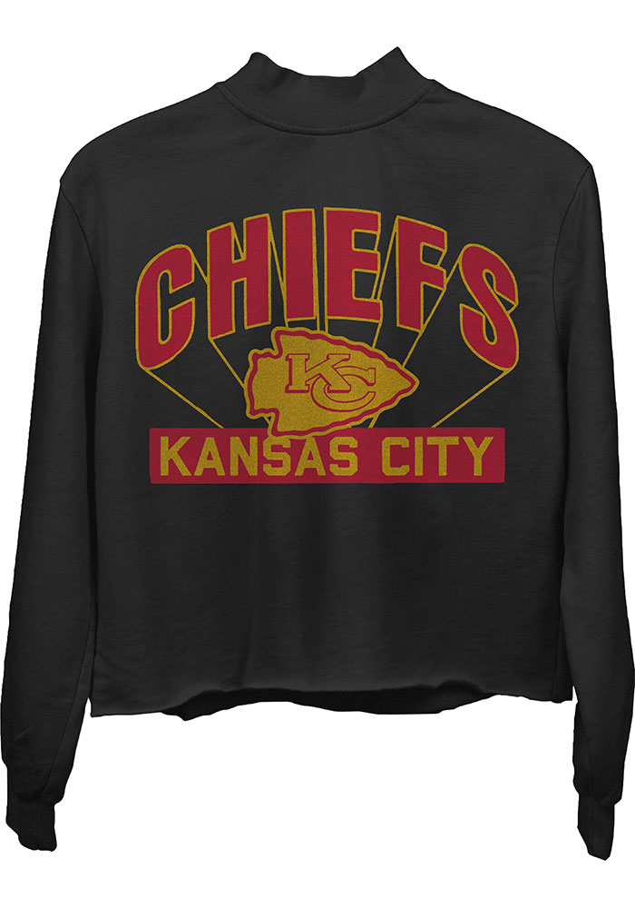 Junk Food Clothing Kansas City Chiefs Womens Black Mocked Crew Sweatshirt - Image 1