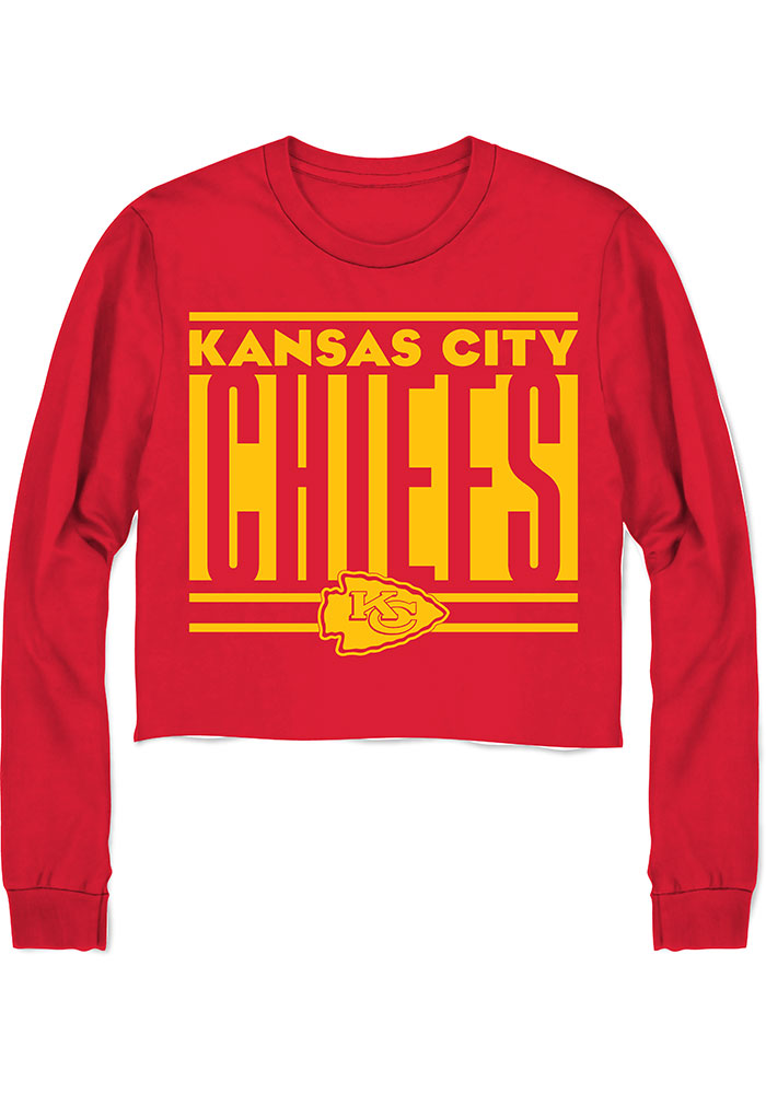 Junk Food Clothing Kansas City Chiefs Womens Red Cropped LS Tee - Image 1
