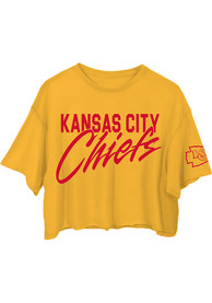 Kansas City Chiefs Womens Junk Food Clothing Cropped T-Shirt - Gold