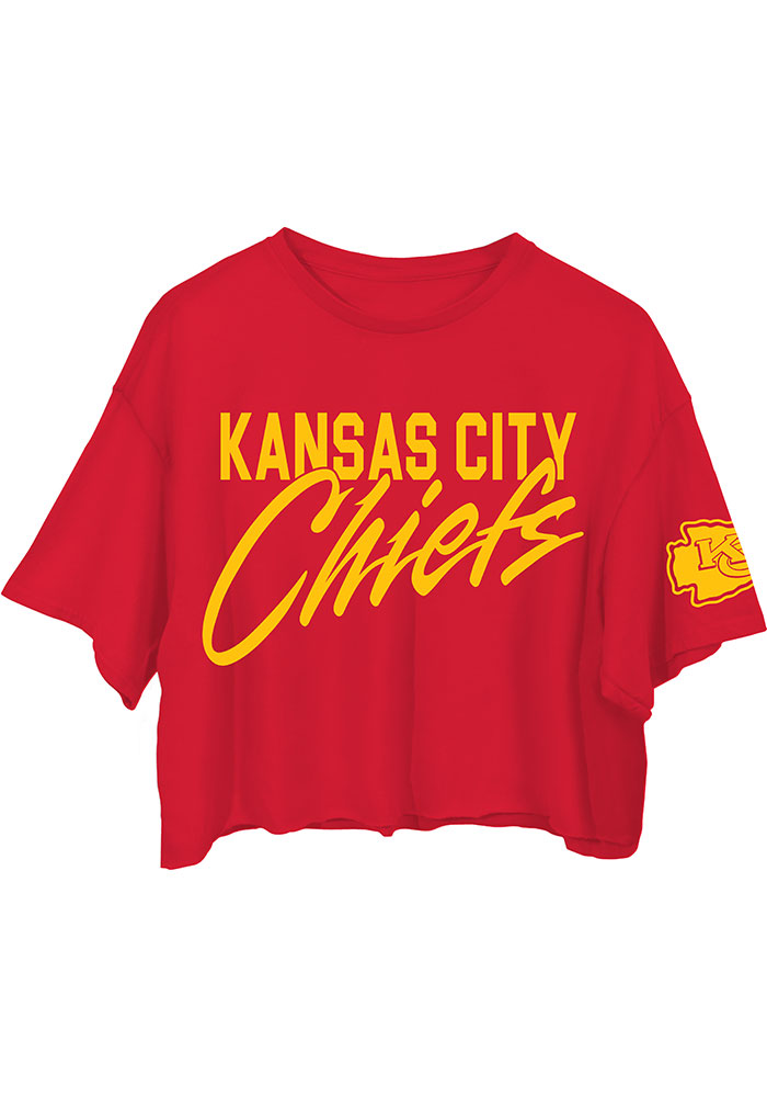 Junk Food Clothing Kansas City Chiefs Womens Red Cropped Short Sleeve T-Shirt - Image 1