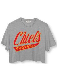 Kansas City Chiefs Womens Junk Food Clothing Cropped T-Shirt - Grey