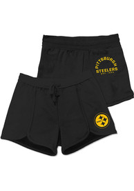 Pittsburgh Steelers Womens Junk Food Clothing Scrimmage Shorts - Black