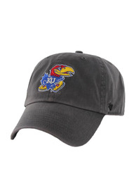Kansas Jayhawks 47 Clean Up Adjustable Hat - Charcoal