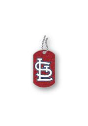 St Louis Cardinals Womens Glitter Dog Tag Necklace - Red