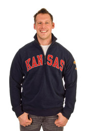 '47 Kansas Jayhawks Mens Navy Blue Arch 1/4 Zip Fashion Pullover