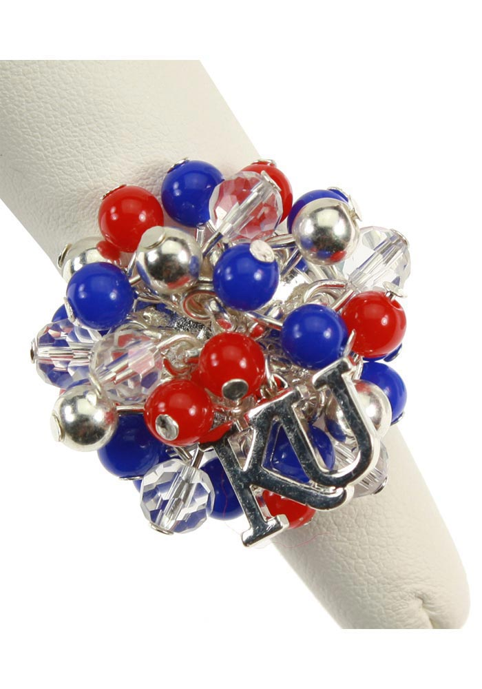 Kansas Jayhawks Beaded Stretch Womens Ring - Image 1