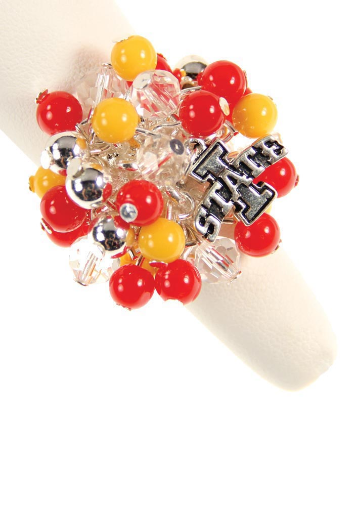 Iowa State Cyclones Beaded Stretch Womens Ring - Image 1