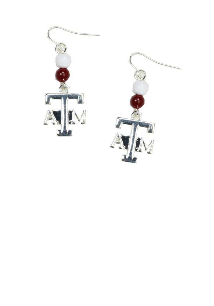 Texas A&M Aggies Womens Silver Beaded Dangle Earrings - White