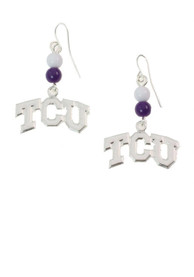 TCU Horned Frogs Womens Silver Beaded Dangle Earrings - White
