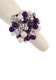 TCU Horned Frogs Beaded Stretch Womens Ring