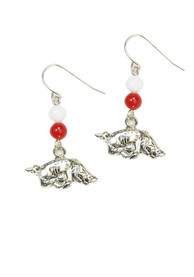 Arkansas Razorbacks Womens Silver Beaded Dangle Earrings - Red