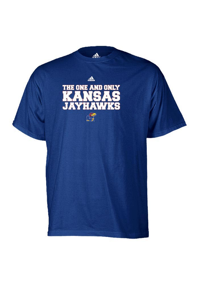 Adidas Kansas Jayhawks Mens Blue One & Only Short Sleeve T Shirt - Image 1