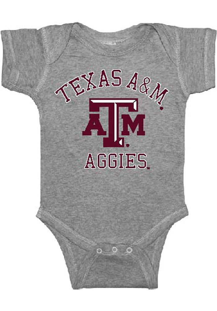 Texas A&M Aggies Baby Grey #1 Short Sleeve One Piece - Image 1