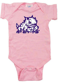 TCU Horned Frogs Baby Pink Mascot One Piece