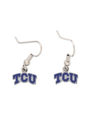 TCU Horned Frogs Womens Silver Dangle Earrings - Purple