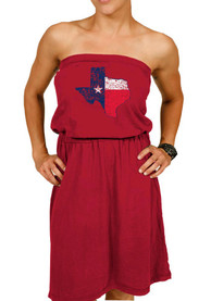 Original Retro Brand Texas Womens Red Flag State Shape Tube Dress