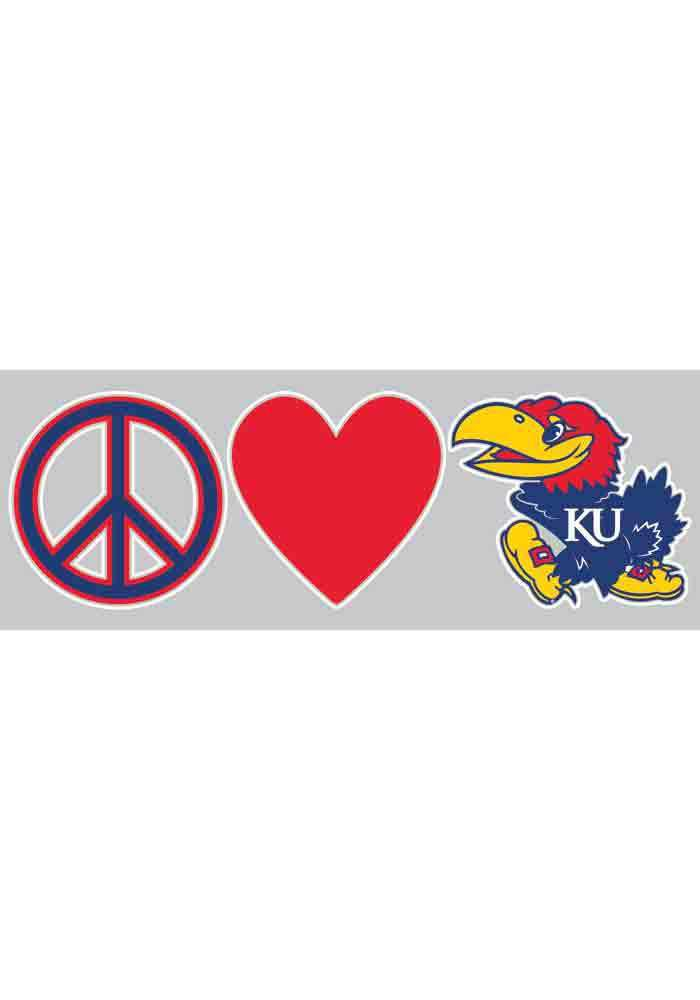 Kansas Jayhawks 3x10 Peace Decal - Image 1
