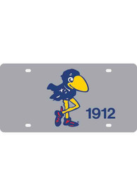 Kansas Jayhawks Silver Retro Logo Car Accessory License Plate