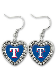 Texas Rangers Womens Heart Earrings - Blue