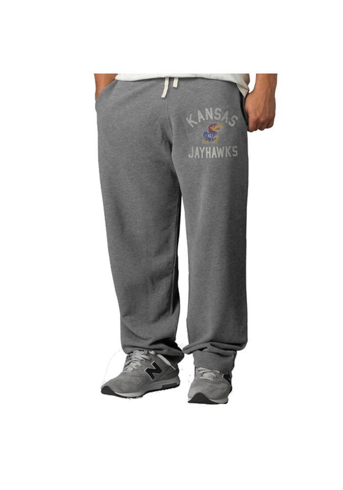 '47 Kansas Jayhawks Mens Grey Varsity Fashion Sweatpants - Image 1