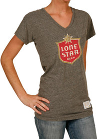 Original Retro Lone Star Beer Womens Grey Logo V-neck Tee
